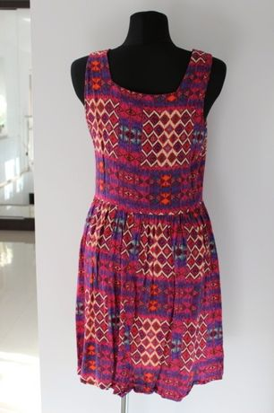 fioletowa rozowa malinowa tunika sukienka 44 46 XXXL w azteckie wzory