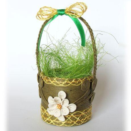 Oliwkowy koszyczek na jajko - 3 sztuki - rękodzieło