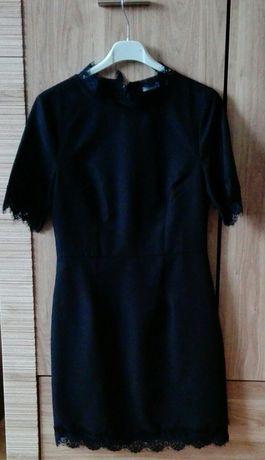 Sukienka czarna XS 34 koronka mini Reserved