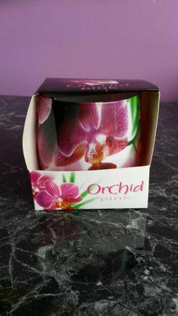 Świeczka zapachowa z motywem storczyka / orchidei na prezent