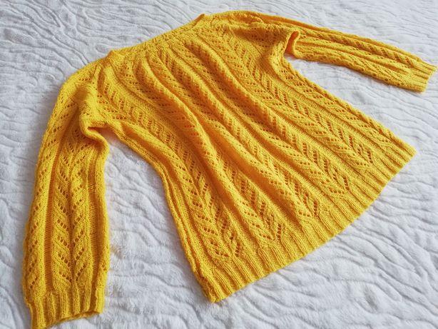 Sweterek żółty ażurowy
