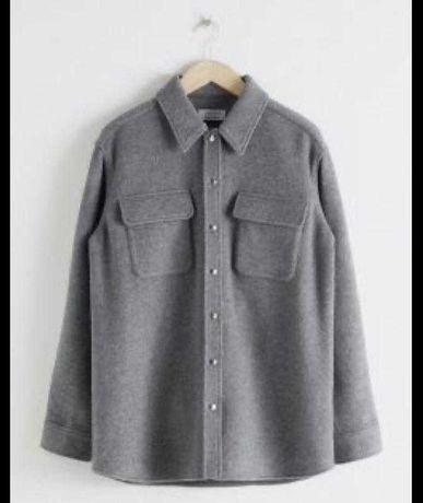 Серая рубашка куртка оверсайз