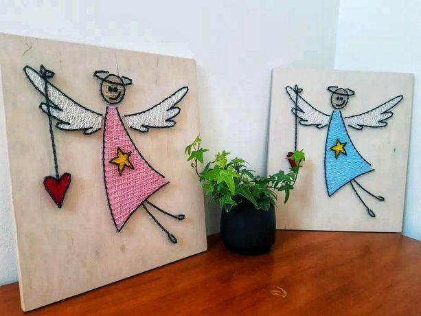 ~ SYMPATYCZNY ANIOŁ ~ Obraz 40X35 String 3D Dzień Dziecks drewno serce