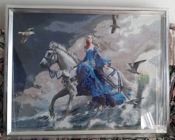 """Quadro Mosaico de Diamante """"Senhora em Azul"""""""