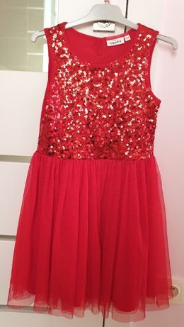 Elegancka, cekinowa czerwona sukienka KappAhl, 134