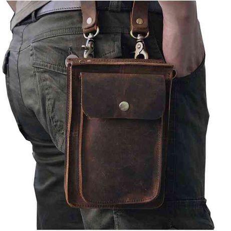 Кожаная сумка-барсетка на ремень