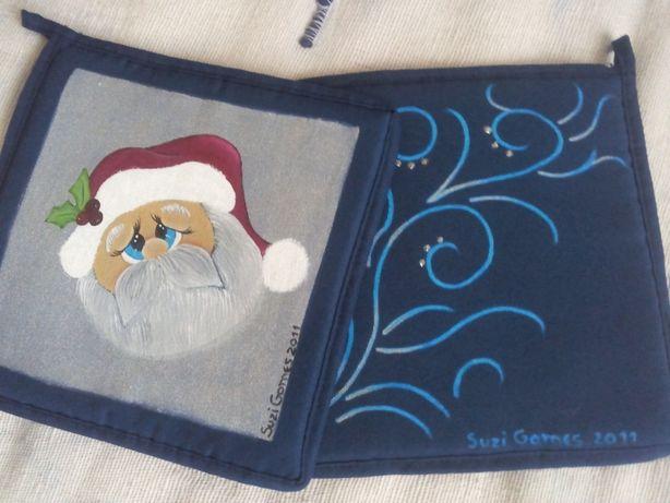 Conj. 2 pegas novas de Natal pintadas à mão