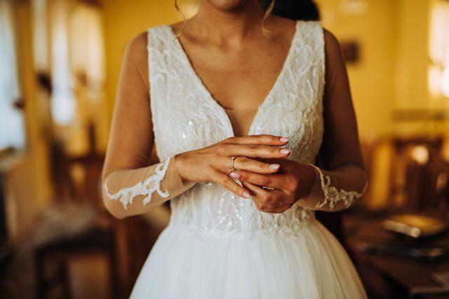 Suknia ślubna litera A, 178 cm + 8 cm, roz. 38