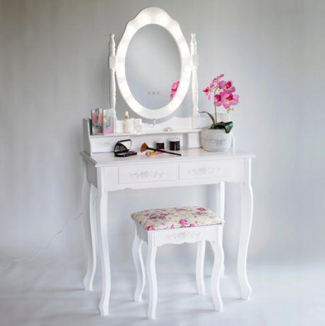 Przepiękna toaletka kosmetyczna lustro LED z 4 półeczkami +GRATISY