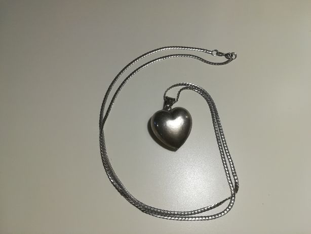 Srebrny łańcuszek z dużym sercem 17g Srebro