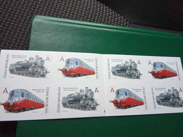 Czeska Seria 8 znaczków zeszycik, motyw lokomotywa, stan idealny.