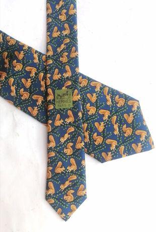 Hermès 7392 PA принт с белками синий винтаж мужской шелк галстук