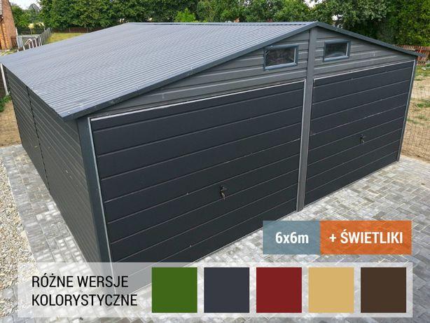 Garaże Pająk - Garaż Blaszany 6x5,8 m z oknami i bramami uchylnymi
