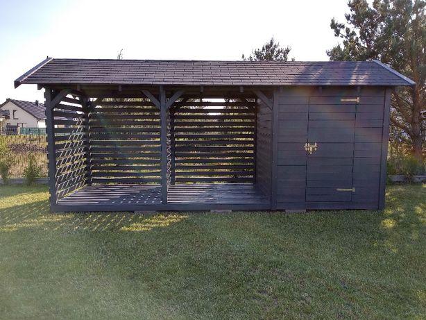 Domek z drewutnią o wymiarach 600cm x 200cm