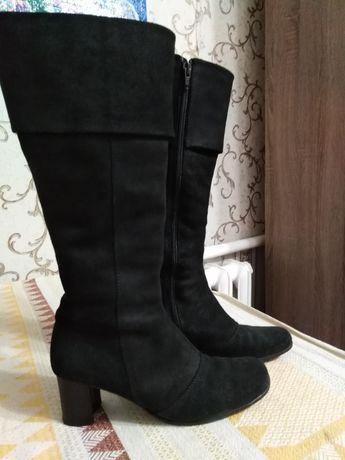 Сапоги женские зимние, зимові жіночі замшеві чобітки. Сапожки 37 р.
