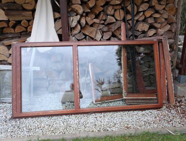 Okno balkonowe drewniane dwuszybowe