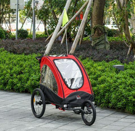 Przyczepka rowerowa dla 2 dzieci czerwono czarna