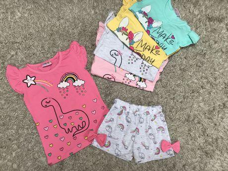 Летний комплект,костюм на девочку/літній комплект футболка і шорти 3-9