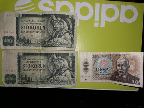 Чехословацкие боньі 100 крон 1961 года и 10 1986