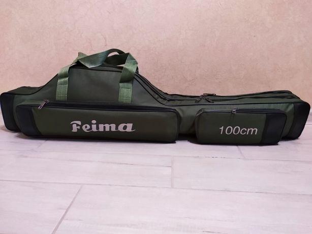 Чехол сумка для рыболовный удилищ удочек 100 см на 2 отделения
