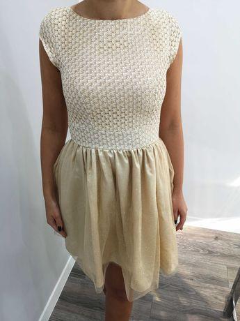 Złota, brokatowa sukienka, rozm. 36