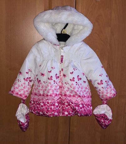 Как новая! Шикарная куртка и рукавички бабочки-цветочки 1 год