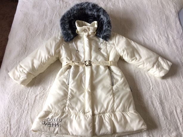 Zimowy płaszczyk Wójcik kurtka dla dziewczynki biały kremowy 128
