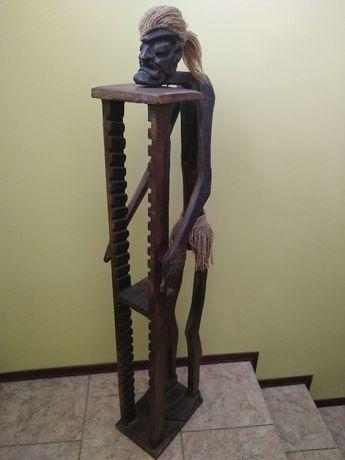 Drewniany stojak na płyty CD, rzeźba