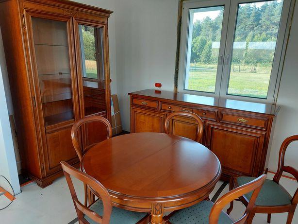 Meble do salonu,stan b.dobry,komoda,stół+5krzeseł,witryna