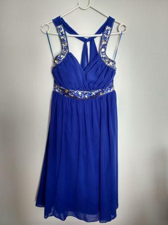 Sukienka kobaltowa ze zdobieniami M wesele