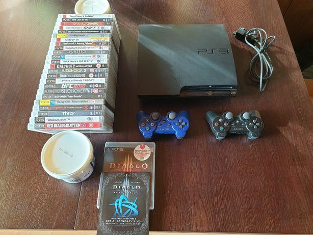 Konsola Sony PlayStation PS3 slim dwa pady 25 dobrych gier stan 5+