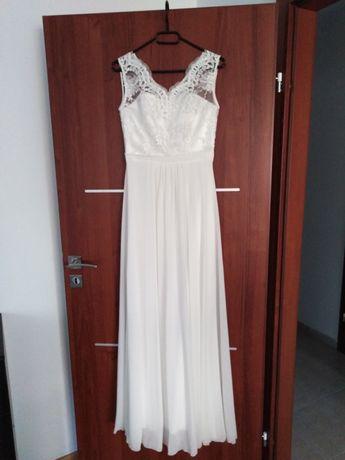 Suknia ślubna ślub cywilny 36 S ecru ciążowa
