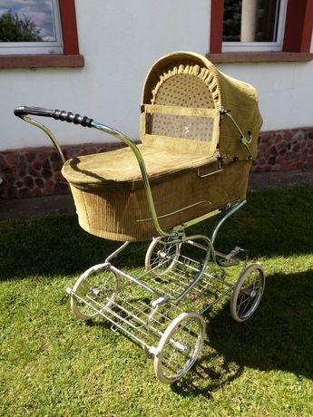Wózek dziecięcy ze sztruksu vintage PRL retro