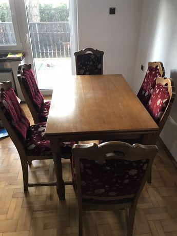 Stół dębowy i 6 krzeseł
