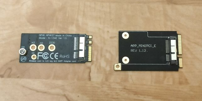 Переходник для подключения Wi-Fi адаптеров Macbook в M.2 и miniPCI-e
