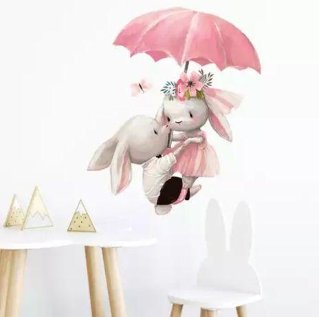 Детская виниловая наклейка на стену «Зайцы под зонтиком».