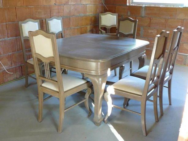 Stół dębowy z 6 krzesłami +tron
