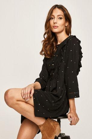 ANSWEAR Sukienka czarna ze zdobieniami S 36