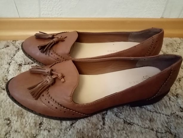 Brązowe damskie obuwie lordsy mokasyny new Look 39