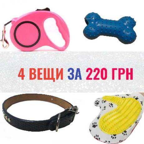 Поводок, ошейник, игрушка, перчатка