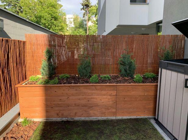 Donice ogrodowe drewniane solidne z modrzewia b. duże 200x100x70H