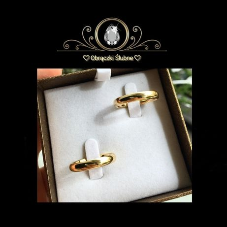 Klasyczna Para Złotych Obrączek Ślubnych SYMBOL MIŁOŚCI