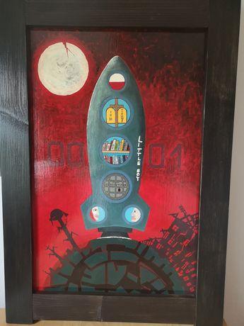 SPRZEDAM własnoręcznie namalowany OBRAZ - rękodzieło - rakieta - HIT