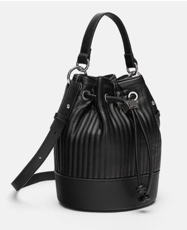 Стильная новая черная сумка ведро zara