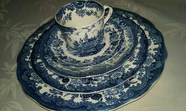 Antyczny zestaw porcelany 1790 Abonament Scenes palissy A Royal Worc