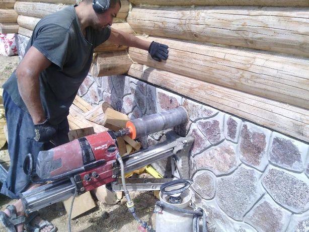 Алмазное сверление отверстий, проёмы, штробы с водой, демонтаж и др