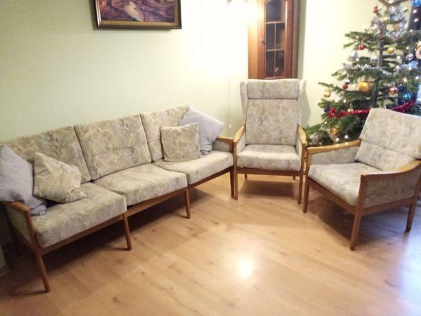 Zestaw wypoczynkowy sofa plus fotele oliwkowo beżowy