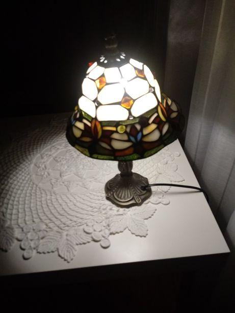 lampka witrażowa mosiądz secesja Tiffanny