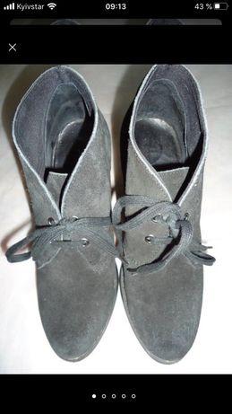 Черные замшевые ботильоны на шнурках р.37 (23,5см) Soft Grey