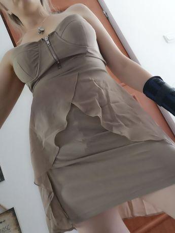 Beżowa kawowa sukienka okazjonalna sexy zwiewna